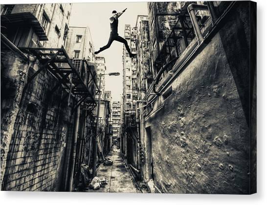Jump Canvas Print - Behind Street by Junites Uno