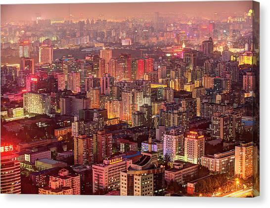Beijing Buildings Density Canvas Print by Tony Shi Photography