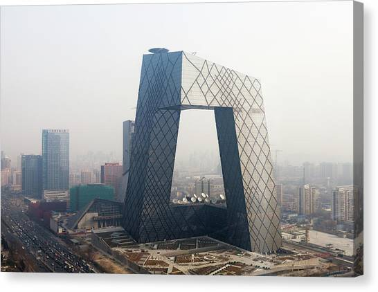 Tv Tower Canvas Print - Beijing Cctv Tower, Rem Koolhaas by Eric Gregory Powell