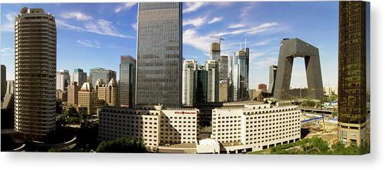 Tv Tower Canvas Print - Beijing Central Business District. by Mark Williamson/science Photo Library