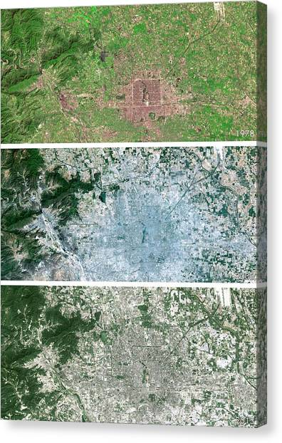 Deforestation Canvas Print - Beijing Urban Spread by Planetobserver