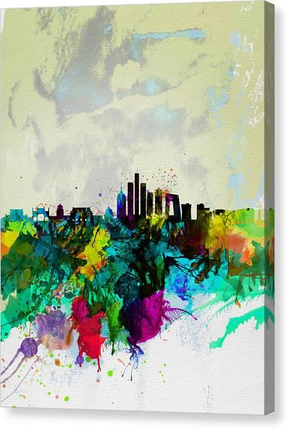 Chinese Canvas Print - Beijing Watercolor Skyline by Naxart Studio