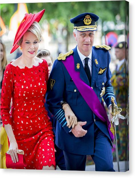 Belgian Royals Attend National Day Canvas Print by Patrick van Katwijk