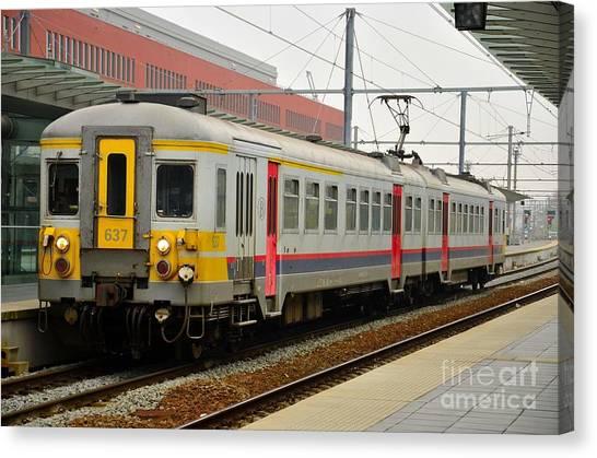 Belgium Railways Commuter Train At Brugge Railway Station Canvas Print