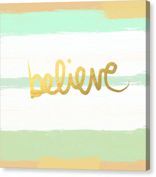 Gold Canvas Print - Believe In Mint And Gold by Linda Woods