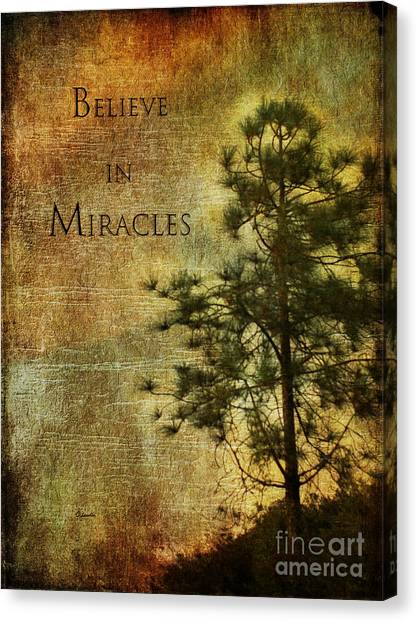 Believe In Miracles - With Text			 Canvas Print
