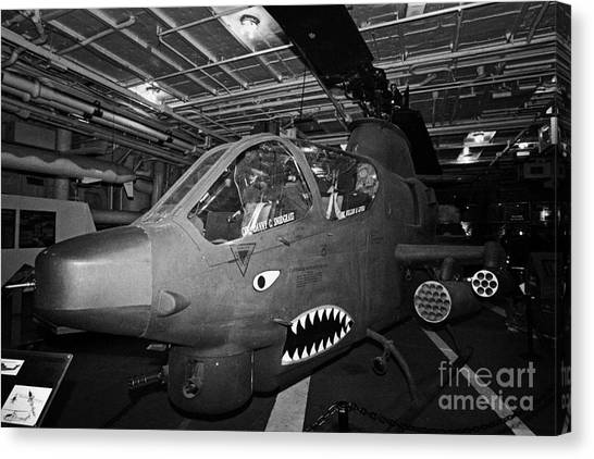 Metropolitan Division Canvas Print - Bell Ah1 Cobra On The Hangar Deck Of The Intrepid Sea Air Space Museum by Joe Fox