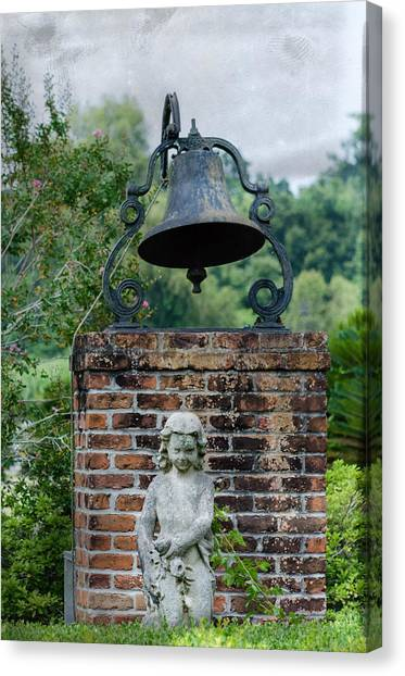 Bell Brick And Statue Canvas Print