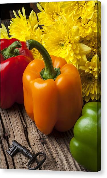 Pom-pom Canvas Print - Bell Peppers And Poms by Garry Gay