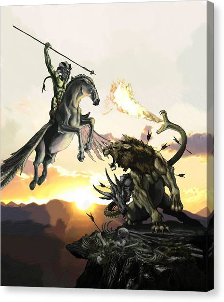 Pegasus Canvas Print - Bellephron Slays Chimera by Matt Kedzierski