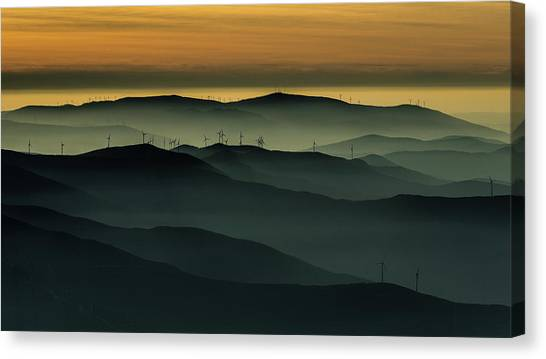 Wind Farms Canvas Print - Below The Horizon by Rui Correia