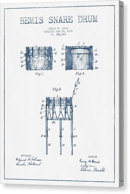 Snares Canvas Print - Bemis Snare Drum Patent Drawing From 1886 - Blue Ink by Aged Pixel