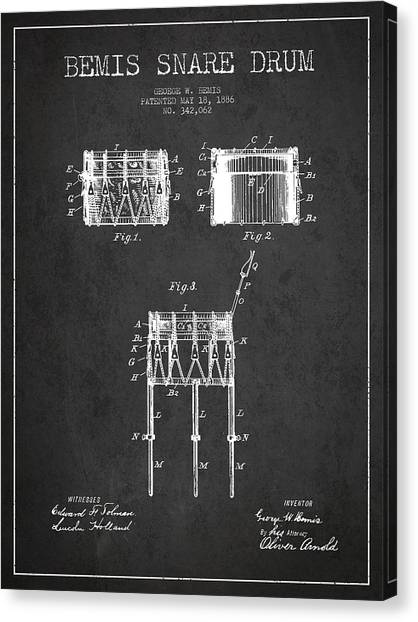 Snares Canvas Print - Bemis Snare Drum Patent Drawing From 1886 - Dark by Aged Pixel