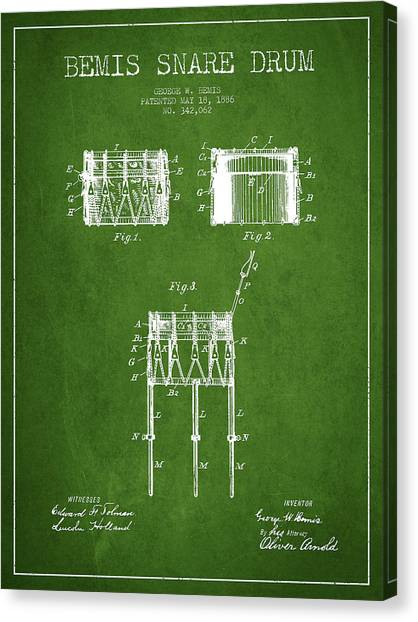 Snares Canvas Print - Bemis Snare Drum Patent Drawing From 1886 - Green by Aged Pixel