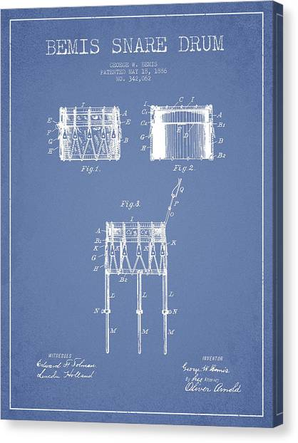 Snares Canvas Print - Bemis Snare Drum Patent Drawing From 1886 - Light Blue by Aged Pixel