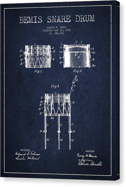 Snares Canvas Print - Bemis Snare Drum Patent Drawing From 1886 - Navy Blue by Aged Pixel