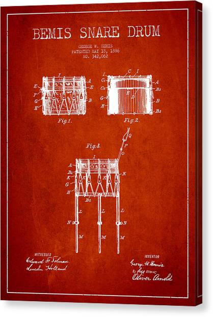 Snares Canvas Print - Bemis Snare Drum Patent Drawing From 1886 - Red by Aged Pixel