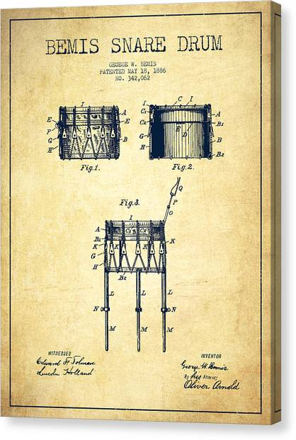 Snares Canvas Print - Bemis Snare Drum Patent Drawing From 1886 - Vintage by Aged Pixel