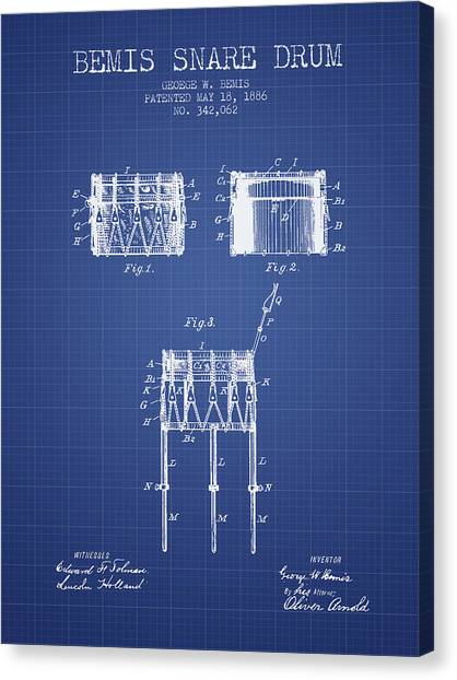 Snares Canvas Print - Bemis Snare Drum Patent From 1886 - Blueprint by Aged Pixel