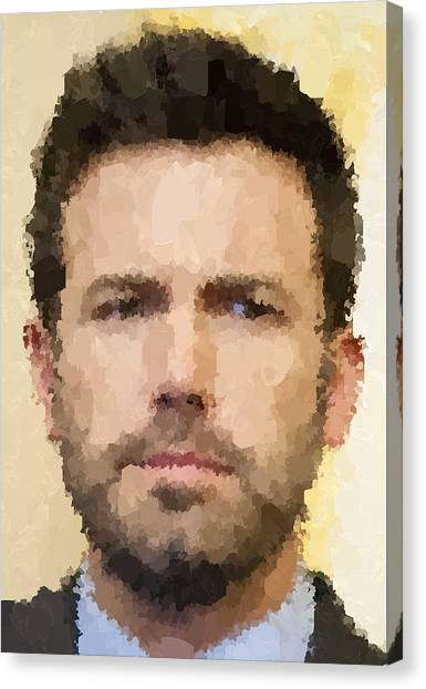 Ben Affleck Canvas Print - Ben Affleck Portrait by Samuel Majcen