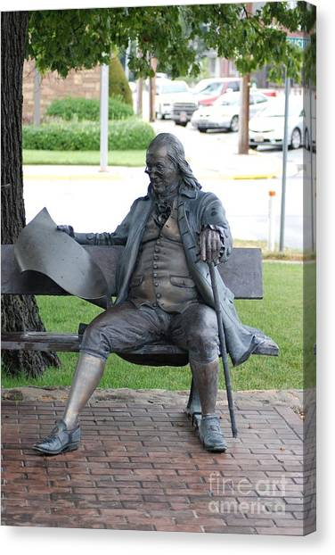 Ben Franklin Statue Canvas Print