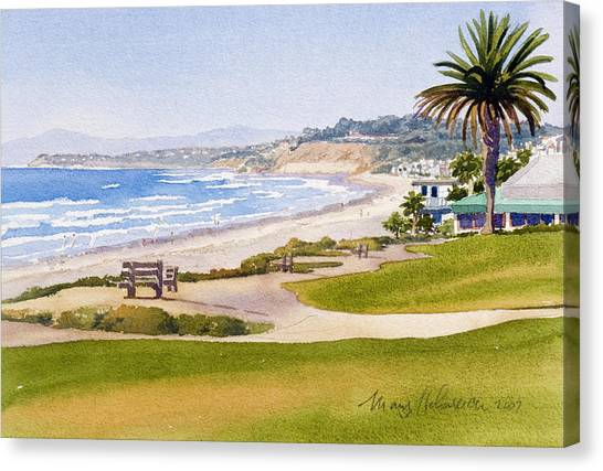 Pacific Coast Canvas Print - Bench At Powerhouse Beach Del Mar by Mary Helmreich