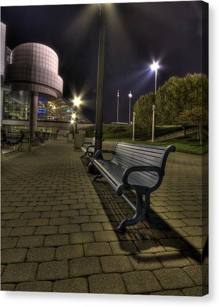 Bench At The Rock Hall Canvas Print
