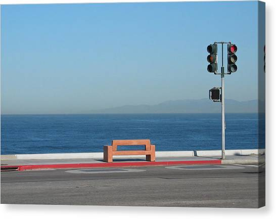 Bench By The Sea Canvas Print