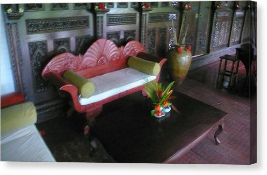 Bench In Bali Canvas Print by Jack Edson Adams