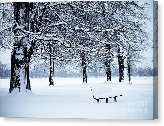 Bench In Snow Canvas Print