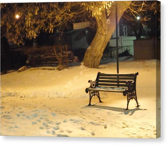 Bench In The Winter Park Canvas Print by Guy Ricketts