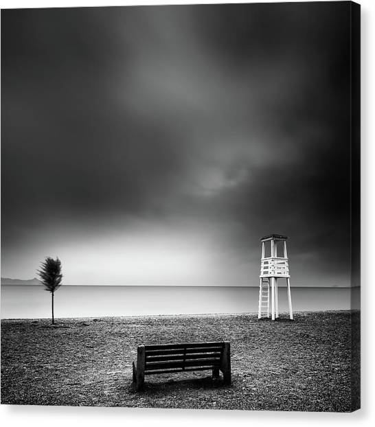 Athens Canvas Print - Bench On The Beach by George Digalakis