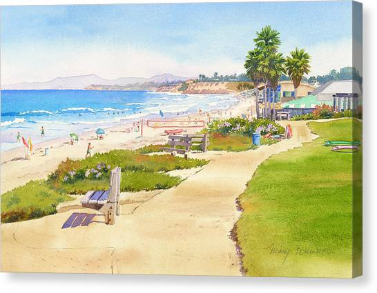 Coast Guard Canvas Print - Benches At Powerhouse Beach Del Mar by Mary Helmreich