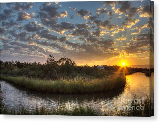 Bayous Canvas Print - Bend In The Bayou Sunrise by Joan McCool