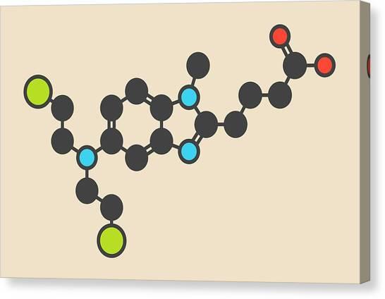 Mustard Canvas Print - Bendamustine Cancer Drug Molecule by Molekuul