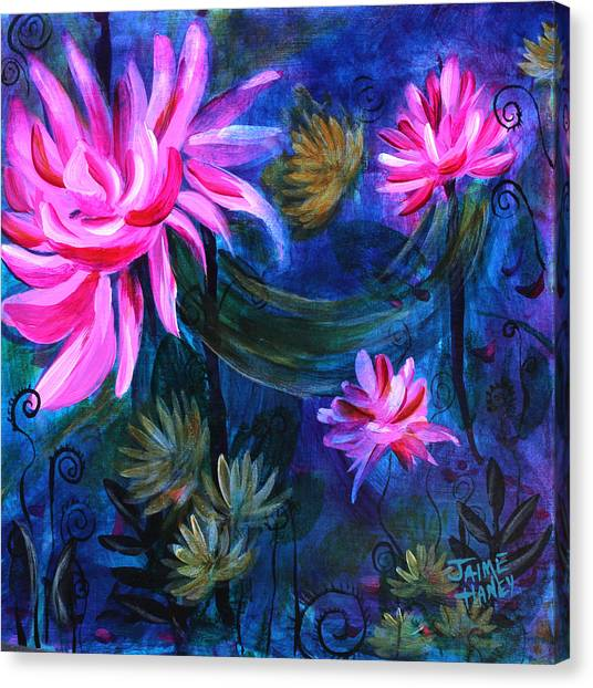 Beneath Dark Lotus Waters Canvas Print