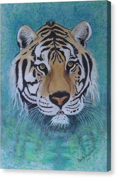 Bengal Tiger In Water Canvas Print by David Hawkes