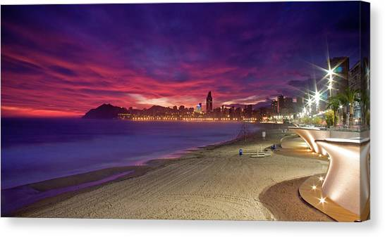 Benidorm At Sunset Canvas Print by Michael Underhill