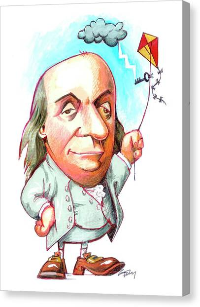 Political Science Canvas Print - Benjamin Franklin by Gary Brown