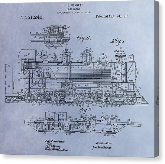 Train Conductor Canvas Print - Bennett Locomotive Patent by Dan Sproul