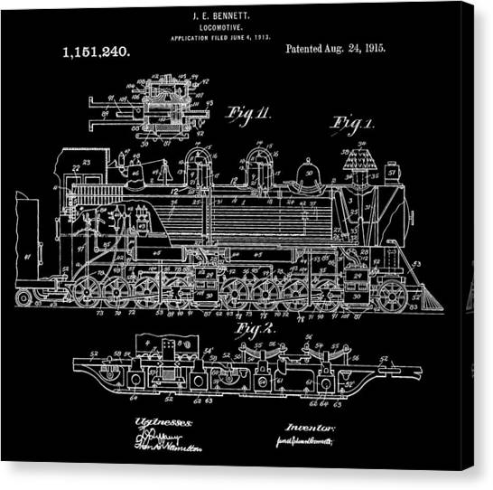 Train Conductor Canvas Print - Bennett Train Patent by Dan Sproul