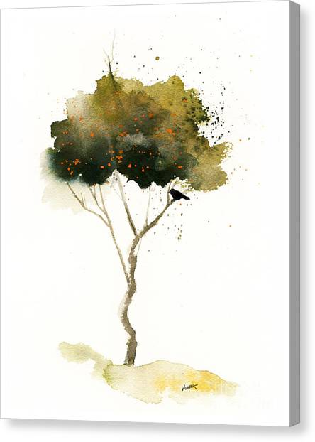 Bent Tree With Blackbird Canvas Print