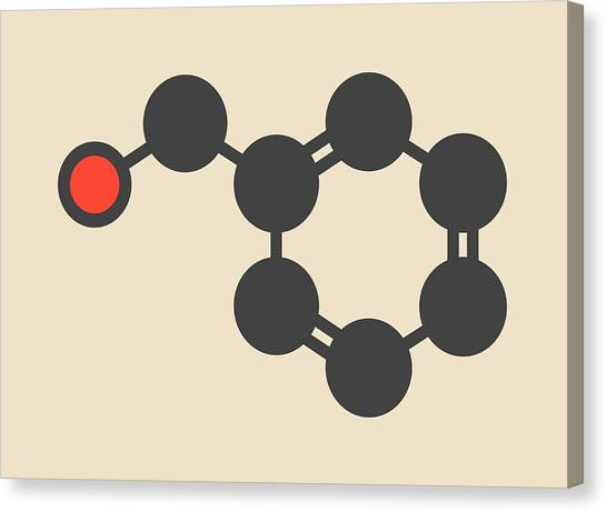 Lacquer Canvas Print - Benzyl Alcohol Solvent Molecule by Molekuul