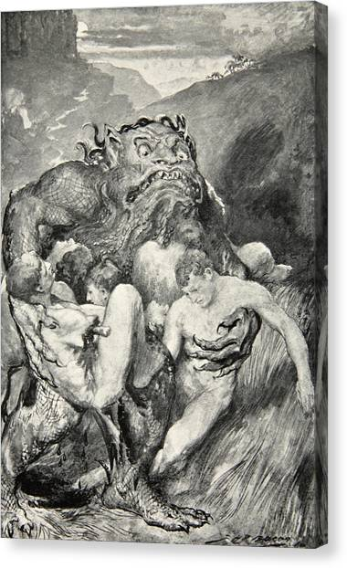 English And Literature Canvas Print - Beowulf Print by John Henry Frederick Bacon