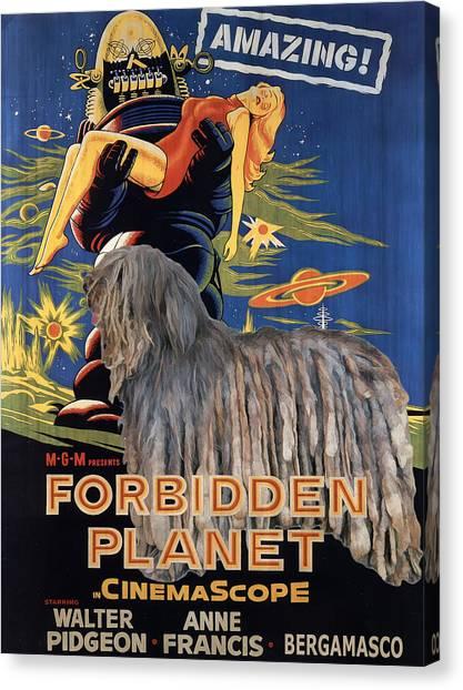 Forbidden Planet Canvas Print - Bergamasco Art Canvas Print - Forbidden Planet Movie Poster by Sandra Sij
