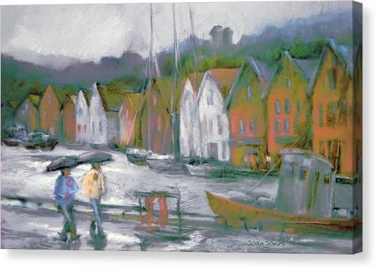 Bergen Bryggen In The Rain Canvas Print