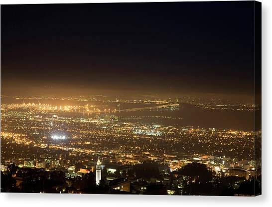 Uc Berkeley Canvas Print - Berkeley At Night by Peter Menzel