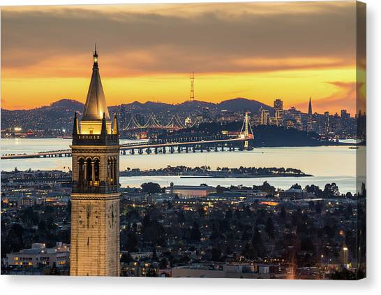 Berkeley Campanile With Bay Bridge And Canvas Print by Chao Photography