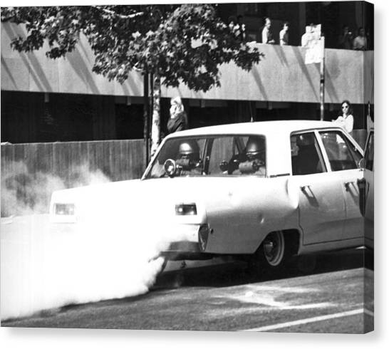 Police Car Canvas Print - Berkeley Police Pepper Gas by Underwood Archives Thornton