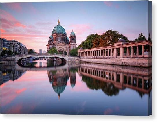 Berlin Cathedral With Friedrichsbridge Canvas Print by Spreephoto.de